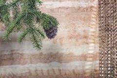 与一个锥体的绿色雪松分支在木背景 免版税图库摄影