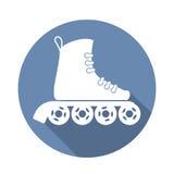 与一个长的阴影的溜冰鞋象 库存图片