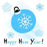 与一个风格化圣诞节球的新年快乐卡片在白色背景 向量例证