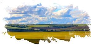 与一个风格化水彩框架的明亮的五颜六色的领域风景 免版税库存图片