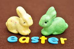 与一个黄色兔宝宝和一个绿色兔宝宝的词复活节 库存图片