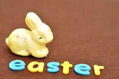 与一个黄色兔宝宝的词复活节 免版税库存图片