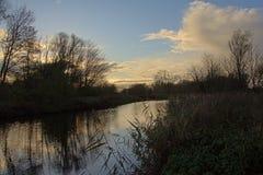 与一个黑暗的池塘的冬天风景和光秃的树剪影在最后晚上点燃 免版税库存照片