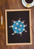 与一个黑板的台式有网图表的 库存照片