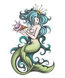 与一个贝壳的美人鱼在她的手上 库存例证