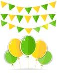 与一个绿色和黄色气球的贺卡 免版税库存照片
