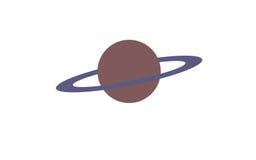 与一个紫色圆环的大行星 库存照片