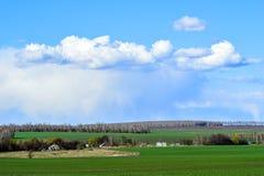 与一个绿色领域、云彩和农场的农村风景 免版税库存图片
