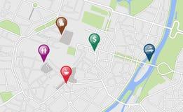 与一些地点标记的城市地图 免版税库存照片