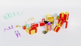 与一些小的发光的丝带的许多多彩多姿的礼物 库存例证