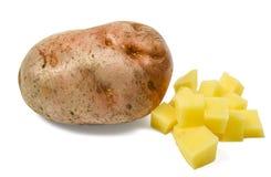 与一些的唯一potatoe切成了小方块 免版税库存图片