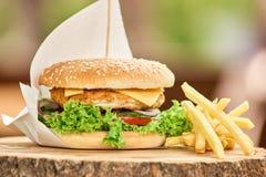 与一些的开胃汉堡油煎 免版税库存图片
