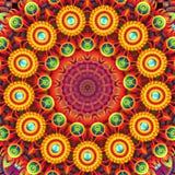 与一件圆装饰品的坛场和以花的形式几何图 库存照片
