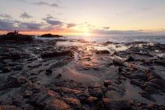 与一位渔夫的日落盖帽的洛赛埃在圣保罗,雷乌尼翁冰岛 免版税库存图片