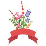 与一副红色横幅的五颜六色的花花束 免版税库存照片
