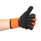 与一副黑橡胶手套的赞许 库存图片