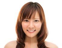 与一半棕褐色皮肤的亚洲妇女面孔 免版税库存图片