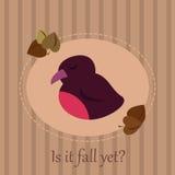 与一只困鸟的逗人喜爱的季节性卡片在镶边背景和秋叶 皇族释放例证