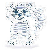 与一只小的猫的点图画 图库摄影