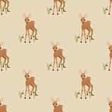 与一只小鹿的无缝的样式在米黄背景 免版税库存图片
