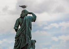 与一只海鸥的雕象在他的头 免版税图库摄影