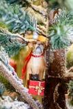 与一只猫的狗在一件当前圣诞节装饰品 免版税库存照片