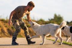 与一只白德国牧羊犬的人戏剧 库存照片