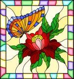 与一只红色花和明亮的橙色蝴蝶的彩色玻璃例证在一个明亮的框架的黄色背景 库存照片