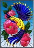 与一只美丽的明亮的蓝色鸟的彩色玻璃例证和开花植物的分支蓝色背景的 库存例证