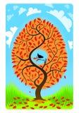 与一只鸟的一棵树在与增加的云彩的蓝色背景 库存图片