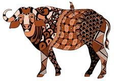 与一只鸟的非洲水牛在他的, zentangle传统化了, vec 图库摄影