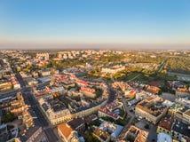 与一只鸟` s眼睛的鲁布林风景与可看见的城堡、老镇和大厦Kalinowszczyzny 图库摄影