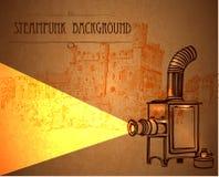 与一台减速火箭的放映机的背景steampunk 免版税图库摄影
