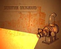与一台减速火箭的放映机的背景steampunk 免版税库存图片