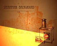 与一台减速火箭的放映机的背景steampunk 免版税库存照片