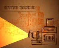 与一台减速火箭的放映机的背景steampunk 库存图片