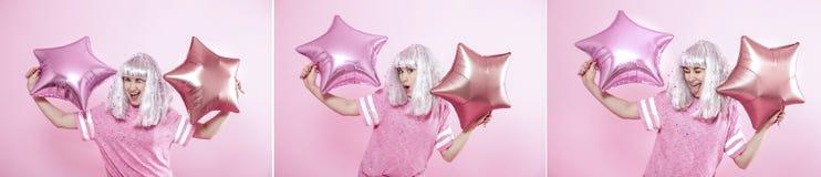 与一名年轻快乐的妇女的拼贴画桃红色背景的 免版税库存照片
