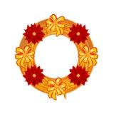 与一品红传染媒介的圣诞节佩带的秸杆花圈 免版税图库摄影