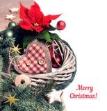 与一品红和冬天装饰,文本sp的圣诞节边界 免版税库存照片