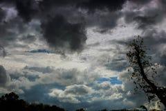 与一场龙卷风的可能的形成的雷云与轻微的 图库摄影