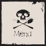 与一块人的头骨的菜单 图库摄影