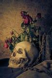 与一块人的头骨的静物画有一朵红色玫瑰的 免版税库存照片