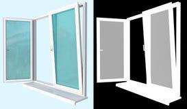 与一块开放挡水板的塑料视窗屏蔽 免版税库存照片
