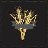 与一块灰色标签模板的玉米和麦子商标 免版税库存图片