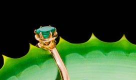 与一块绿宝石的金戒指在叶子 免版税库存照片