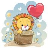与一头逗人喜爱的狮子的生日贺卡 库存例证