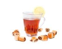 与一家甜公司的茶 免版税库存照片