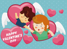 与一对浪漫夫妇的飞行心脏为情人节,传染媒介 免版税库存照片