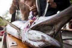 与一张开放嘴的死的鱼 免版税库存图片