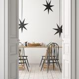 与一张海报的圣诞节大模型在饭桌的背景 3d翻译 免版税库存照片